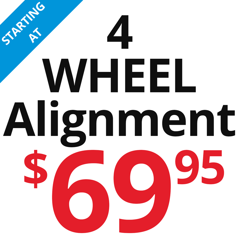 4 wheel alignment starts at $69.95