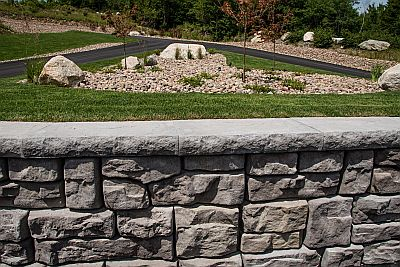 Retaining walls built like this are functional and visually appealing.